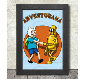Adventurama Poster Print A3+ 13 x 19 in - 33 x 48 cm Futurama - Adventure Time Mashup