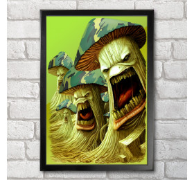 Army of Mushrooms  Poster Print A3+ 13 x 19 in - 33 x 48 cm