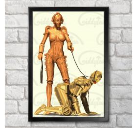 3POrn Poster Print A3+ 13 x 19 in - 33 x 48 cm Maria, C-3PO, BDSM
