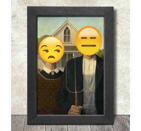 American Gothic Poster Print A3+ 13 x 19 in - 33 x 48 cm Emoji Painting