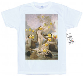 The Birth of Venus T shirt Design, Bouguereau Emoji Painting