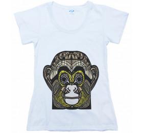 Geometrized Chimpanzee T-Shirt Design