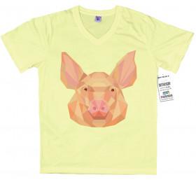 Geometrized Pig T-Shirt Design