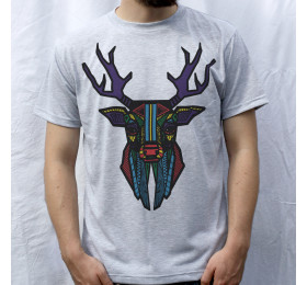 Geometrized Stag T-Shirt Psychedelic Design