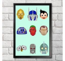 Good Robots Poster Print A3+ 13x19in C3PO Optimus Astro R2D2 Vision Andrew Wall-E T-800