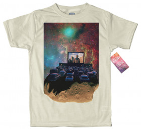 Asteroid Cinema T shirt Design, Space Collages