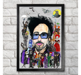 Tim Burton +his characters Poster Print A3+ 13 x 19 in - 33 x 48 cm