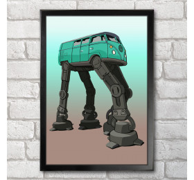 Volkswagen Transporter AT-AT Poster Print A3+ 13 x 19 in - 33 x 48 cm, VW Star Wars